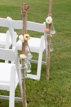 very cute, old mis-matched vases from rustic wedding chic!!  great rustic backyard, country wedding site!!!