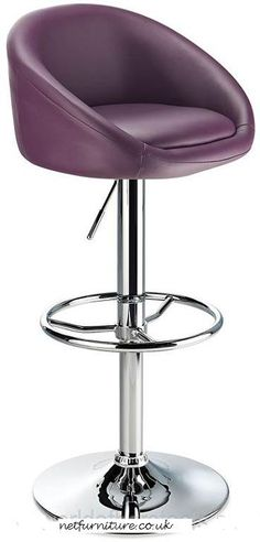 Lombardy Kitchen Breakfast Bar Stool - Purple Seat Chrome or Brushed Frame Purple Bar Stools, Bar Stools Uk, Kitchen Breakfast Bar Stools, Green Bar, Magnetic White Board, Green Home Decor, Home Decor Furniture, Office Furniture, Furniture Ideas