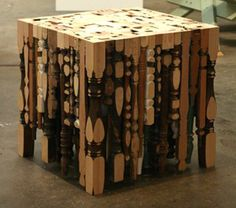 turnings cubed....a very unique table...single table legs that would go to waste otherwise...wht a conversation piece!!!    Strong and functionable