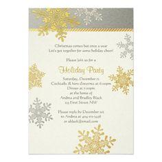 Silver Gold Snowflake Winter Christmas Holiday Card