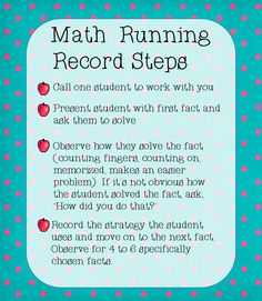 The Classroom Key: Math Fact Running Record