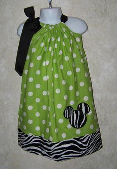 Mickey Mouse Pillowcase Dress / Zebra / Polka by KarriesBoutique, $24.95