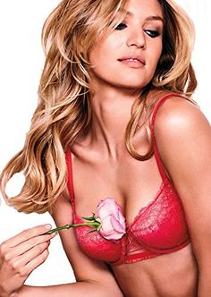 Victorias Secrets Crystal Embellished Red Unlined Demi Bra 36 C 75 -- You can get more details by clicking on the image.