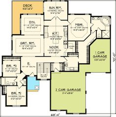 images about house plans on Pinterest   House plans  Floor    Plan No  W AH Style  Ranch  European Total Living Area    sq