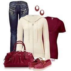 cranberry - Polyvore. Cute but comfy for a stay at home mom!