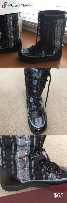Coach rain winter boots Fabric plaid and patent black coach rain/snow boots. Coach Shoes Winter & Rain Boots