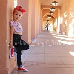 Pin up style for babies & girls by Sunshine Baby Clothing. Vintage inspired 100% made in USA. https://www.sunshinebabyclothing.com/ Rockabilly dresses hair bows scarfs hair styles up do bettie bangs victory rolls toddler handmade bandana red converse.