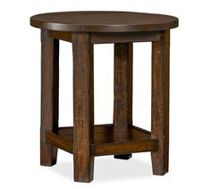 Benchwright Round Side Table | Pottery Barn This would be a beautiful complement to our Cheswick coffee table!
