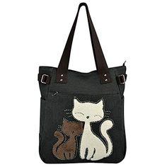 Vbiger Bolsos Totes para Mujer con Lona Linda del Gato Mas info: http://www.comprargangas.com/producto/vbiger-bolsos-totes-para-mujer-con-lona-linda-del-gato/
