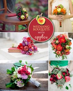 """Fall Wedding Bouquets with Apples . a unique """"fruity"""" idea Fall Bouquets, Fall Wedding Bouquets, Bride Bouquets, Floral Bouquets, Fruit Wedding, Red Wedding, Floral Wedding, Wedding Flowers, Wedding Ideas"""