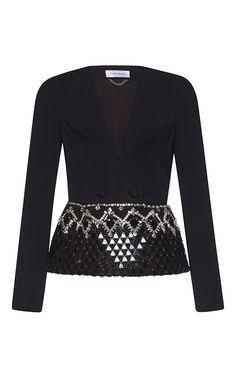 Peplum Cady Jacket With Jewelry Embroidery by ZUHAIR MURAD for Preorder on Moda Operandi