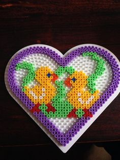 Ornament Easter Heart Hama Pearls Beads by Dorte Marker – Hama – Ostern – Hama Beads Hama Beads Design, Diy Perler Beads, Hama Beads Patterns, Perler Bead Art, Beading Patterns, Hama Beads Animals, Modele Pixel Art, Beading For Kids, Peler Beads