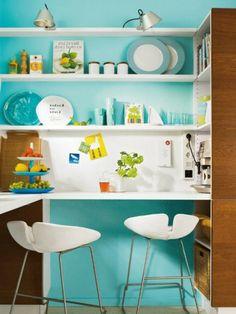amenager une petite cuisine design et modle d equiper cette espace ikea cuisine conforama - Cuisine Mur Bleu Turquoise