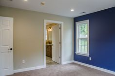 Master suite with blue accent wall ©Balducci Builders