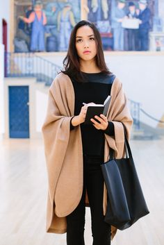 Cuyana Alpaca Long Classic Cape in Camel - elegantly casual for a day trip to the art gallery
