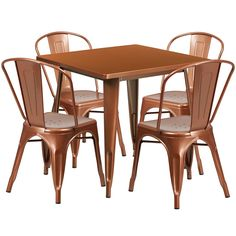"""The 31,5'' Square Restaurant Table Set - """"Ferrara"""" is stylish and sturdy bistro table and chairs for four people. The chairs are stable and have high and comfortable backs. The set is designed for both indoor and outdoor use and has protective rubber floor glides to ensure you won't have trouble with floor scratches."""