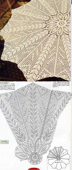 Crochet Doily Diagram, Crochet Stitches Patterns, Crochet Chart, Filet Crochet, Crochet Motif, Crochet Designs, Crochet Doilies, Crochet Lace, Crochet Bedspread