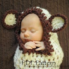 Crochet PDF PATTERN Hooded Baby Cocoon. Photo prop (034) | Patterns