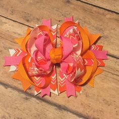 Orange and pink hair bow #bowtifulblessings