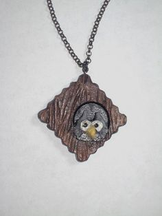 1 scalloped square polymer clay pendant with wood texture with a small owl peeking out. Pendant is on a 24 black chain. Owl Pendant, Pendant Necklace, Small Owl, Polymer Clay Pendant, Etsy Jewelry, Statement Jewelry, Really Cool Stuff, Vintage Items, Pendants
