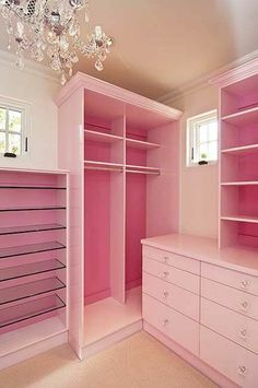 Girly pink wardrobe and shelves