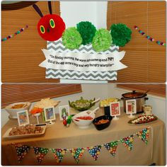 Storybook Baby Shower - The Very Hungry Caterpillar featured at food table, with foods selected according to children's books as well. Display created by Melissa Martinez.