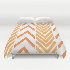Orange Arrows - Bed Spread - Duvet Cover -  Orange and White Striped - Bed Cover -  Duvet Cover Only - Bedding - Made to Order by ShelleysCrochetOle on Etsy