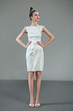 Futura short twopiece ivory silk wedding dress by PetiteLumiereCo