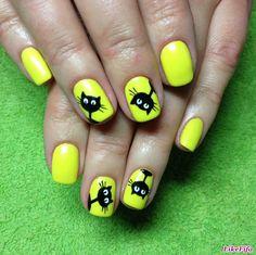 """дизайн ногтей """"кошки"""", кошачий весенний маникюр, желтый маникюр, яркие ногти"""