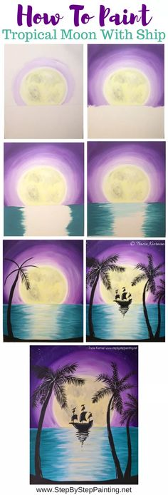 How To Paint Tropical Moon Rise With Ship - Step By Step Painting Watercolor Paintings For Beginners, Acrylic Painting Tutorials, Beginner Painting, Painting Techniques, Watercolour Painting, Easy Watercolor, Acrylic Paintings, Watercolor Tutorials, Easy Paintings