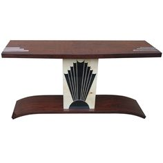 """French Art Deco Console Table/ Palisander """"Rio""""/ Sunray Detail"""