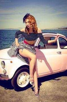 pin up girl & pink fiat 500 Pin Up Girls, Rockabilly Style, Rockabilly Fashion, Rockabilly Girls, Rockabilly Dresses, Estilo Pin Up, Look Retro, Retro Pin Up, Retro Vintage