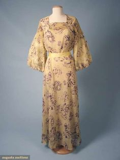 Augusta Auctions, March 2010 NYC, Lot 254: Silk Chiffon Summer Gown, 1930s