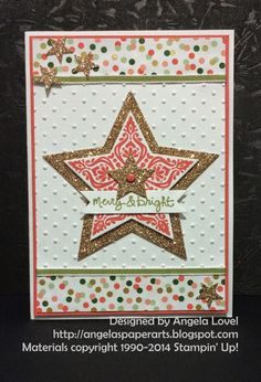 Merry & Bright card made using Stampin' Up! Bright & Beautiful stamp set 2014 - 2015 Holiday Catalogue, Good Greetings hostess set, Star framelits, Gold Soiree DSP, Itty Bitty Accents star punch, Perfect Polka Dots embossing folder and Bitty Banners framelits. Click here to purchase items from my Australian online store: http://www.angelaspaperarts.stampinup.net/ #angelaspaperarts