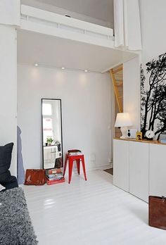 red metal, metal stool, stylish seat, bedroom