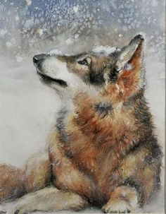 watercolor paintings of animals in snow - Google Search