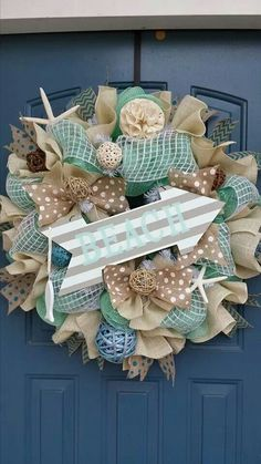 Sale Beach/Summer deco mesh wreath by WonderfulWreathsKim on Etsy Summer Deco, Beach Crafts, Diy Crafts, Nautical Wreath, Deco Mesh Wreaths, Burlap Wreaths, Burlap Ribbon, Diy Wreath, Wreath Ideas