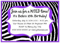Dark Purple Zebra Girl Teen Adult Digital Birthday Party Invitations