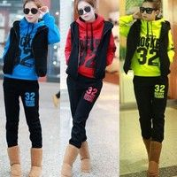 Wish | Womens Casual Hoodies 3pcs Coat+Vest+Pants Warm Sports Suit Tracksuit