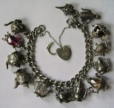 teapot charm bracelet - vintage English charms from 60s & 70s