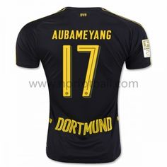 11b9f0d4ce2 Aubameyang Black Away Adult Soccer Jersey 2016 - Non-branded BVB Away Club  Jersey