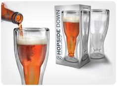 hopside down beer glasses.. I want some of these things!