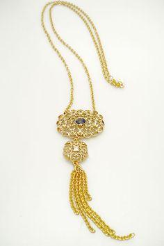 """Modern Victorian"" Long Tassel Necklace with Black Diamond Swarovski"