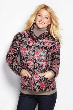 Women's Pattern Lightweight Refined Down Jacket from Lands' End on Catalog Spree, my personal digital mall.