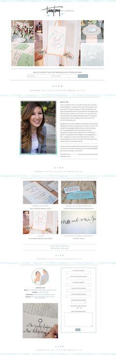 Beautiful Feminine Website Design for Tawny Tsang Calligraphy . Designed by Casey Joan Design