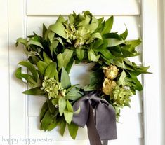 How to Make a Bay Leaf Wreath - Happy Happy Nester Christmas Swags, Outdoor Christmas, Christmas Crafts, Summer Christmas, Christmas Ideas, Xmas, Diy Wreath, Grapevine Wreath, Bay Leaves