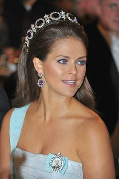 Princess Madeleine attends the Nobel Banquet on Queen Josephine's Amethyst Tiara.