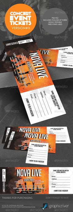 Concert & Event Tickets/Passes Version 3 — Photoshop PSD #admission passes #event flyers • Available here → https://graphicriver.net/item/concert-event-ticketspasses-version-3/3825654?ref=pxcr
