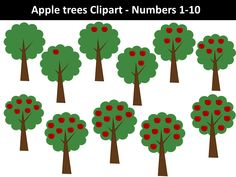 Apple trees clipart - Numbers by PrwtoKoudouni Tree Clipart, Pink Minnie, Apple Tree, Teacher Resources, Numbers, Trees, Clip Art, Projects, Maths