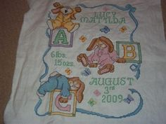 """Julia says: """"Birth Sampler, stitched by me for my Friend's litte girl"""" - fab job @Julia Charles on this Janlynn kit!"""
